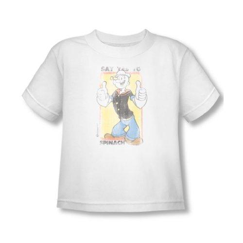 Popeye - Sag ja zu Spinat Kleinkind T-Shirt in Weiß, 4T, White