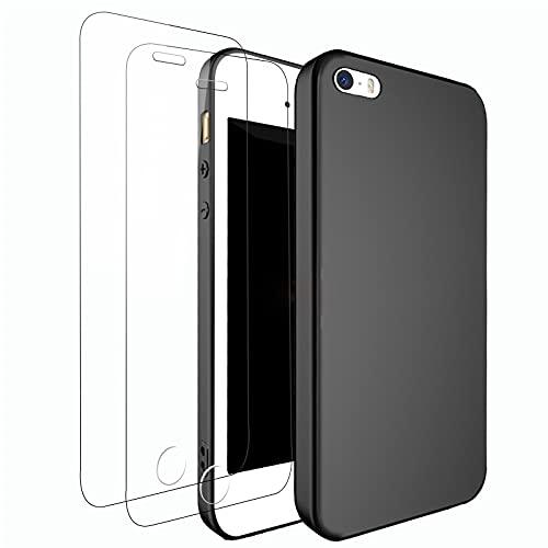 NEW'C Cover per iPhone 5, iPhone 5S e iPhone Se 2016 in silicone ultra sottile nero e 2× vetro temperato per iPhone 5, iPhone 5S e iPhone Se 2016, pellicola protettiva per schermo