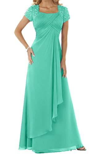 HUINI Abendkleid Chiffon Lang Brautmutterkleid Empire Ballkleid Festkleid mit Ärmel Hochzeitskleid Partykleid Türkis 38
