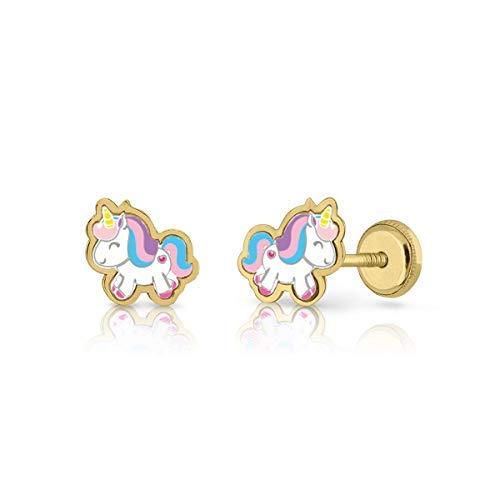 18k gold earrings, or 9k girls/women unicorn hand enamelled, jewellery measurements: 7.5 x 8 mm, with screw closure, different models. lemon tree