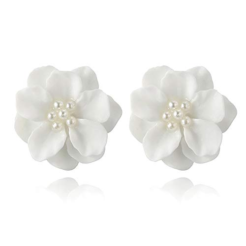 Cute Camellia Flower Stud Earrings,Floral Design White Pearl Beads Stud Earrings Lightweight Jewelry for Women Teen Girls Party Daily Wear (White)