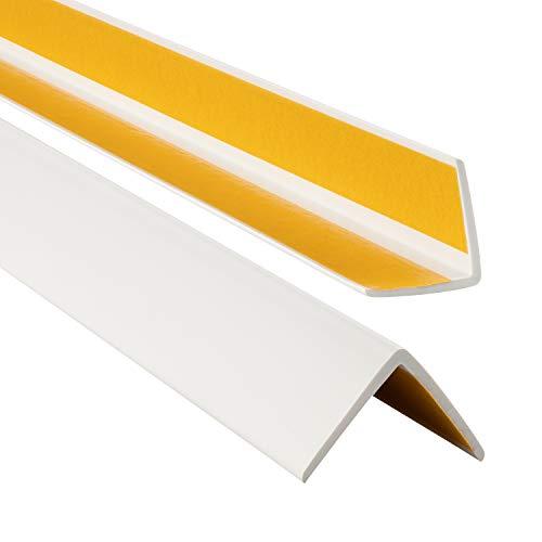 ProfiPVC Profilo angolare PVC 35x35mm, Listello di protezione - Striscia PCV, Riparo dei profili angolari e bordi, 165cm, Bianco