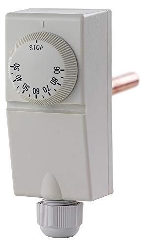 Termostato electromecánico de carcasa de plástico para inmersión, ajustable de 30 a 90 °C, longitud de 10 cm