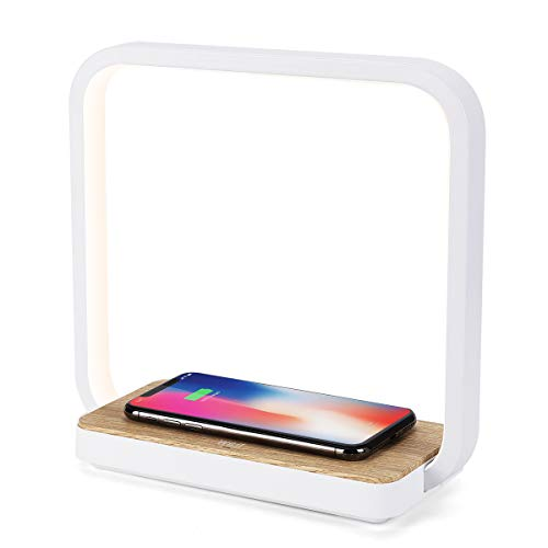 WILIT A13 Nachttischlampe Ladefunktion, Qi-Zertifiziert Kabelloses Ladegerät, 12W Holz Tischlampe Touch Dimmbar mit 60 LEDs, Wireless Charger für iphone 12/11/XR/XS/X/8, Samsung Galaxy S10/S9+/S8+
