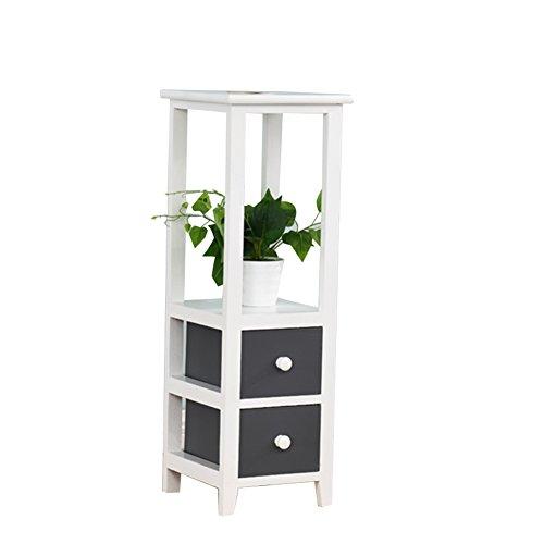 CSQ Étagères de pot de plancher d'intérieur, étagère multifonctionnelle de chambre à coucher simple en bois gris foncé de salon avec le tiroir ferme Étagère à fleurs (taille : 28 * 28 * 80CM)