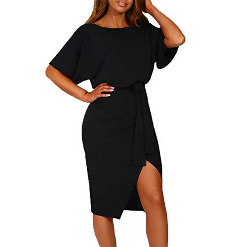 Ajpguot Damen Kleid Rundhals Kurzarm Sommerkleid Asymmetrisch Schlitz Strandkleid Einfarbig Knielang Kleider Freizeitkleid mit Gürtel Partykleid (Schwarz, M)