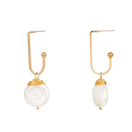 Ruby569y Pendientes colgantes para mujeres y niñas, moda de imitación perla Shell cuelgan geométricas pendientes de tuerca - NE259