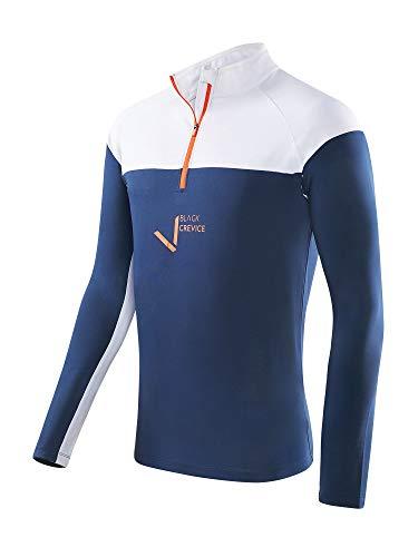 Black Crevice T-Shirt Fonctionnel à Fermeture Éclair pour Homme XL Bleu Marine/Blanc