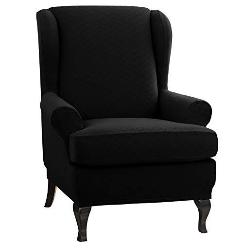 CHUN YI Rhombus-Jacquard Ohrensessel Schonbezug 2-Stück Elastische Sofaüberwurf Schutzhülle aus elastischem Sessel Husse für Ohrensessel (Ohrensessel, Schwarz)
