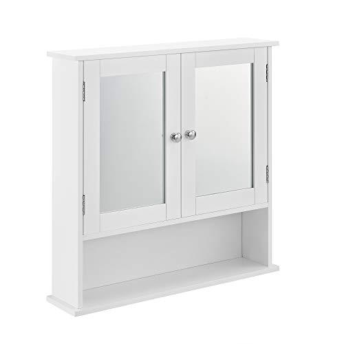 [en.casa] Badezimmerschrank Weiß - 58 x 56 x 13cm - Badschrank Schrank mit Spiegel
