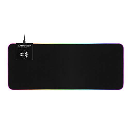 XuuSHA RGB Mauspad Gaming Mauspad Wireless Ladegerät 10W Schnelle Ladegeführte LED Große Maus Matte USB Computer Tastatur Pads (Color : 800x300)
