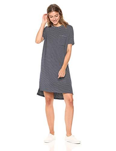 Amazon Brand - Daily Ritual Women's Jersey Short-Sleeve Crewneck Boxy Pocket T-Shirt Dress, Navy/White Stripe, X-Large