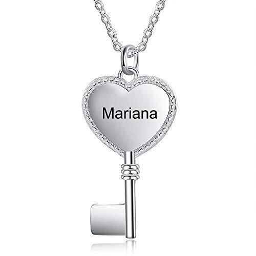 Collana Personalizzata Donna Ciondolo a Forma di Chiave a Cuore con Incisione del Nome Regalo di San Valentino di Compleanno per Lei