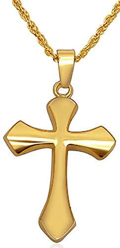 Collar De Cruz Collar Con Colgante Plata/Negro/Oro/Collares De Cruz Simple Collar Con Dijes Crucifijo De Jesucristo Para Hombres Mujeres Joyas Caja De Regalo,Gold