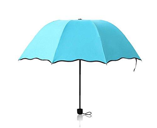 Drawihi Damen Mädchen Regenschirm Anti UV-Regen Schirme Leichte Winddichte Sonnenschirm Regenschirm (Blau)