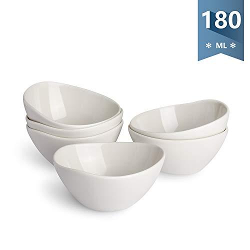 Sweese Dessertschalen 6er Set aus Hellgrau Porzellan, 180 ml, Mini-Schüssel, Dessertschale, Snackschale, Eisschale, Dipschale
