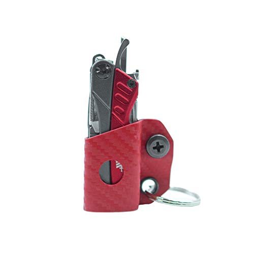 Clip & Carry Kydex Multi-Tool Sheath for GERBER DIME/LEATHERMAN SQUIRT PS4 - Made in USA - Multi Tool Multitool Sheath Holder Holster Cover (Carbon Fiber Red)