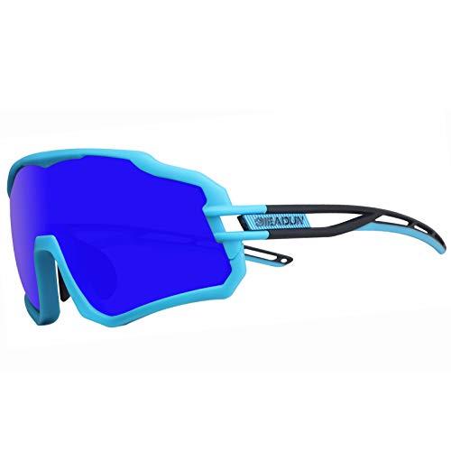 GIEADUN Gafas De Sol Polarizadas para Ciclismo con 3 Lentes Intercambiables UV400 Y Montura De TR-90, Gafas para MTB Bicicleta Montaña De Protección UV (Azul)
