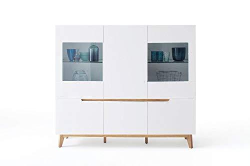 Newfurn Highboard Sideboard Skandinavisch Kommode Standschrank Hochschrank II 155x138x 40 cm (BxHxT) II [Isaac.Five] in Eiche/Weiß Wohnzimmer Schlafzimmer Esszimmer