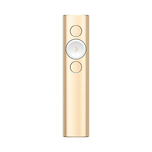 Logitech Spotlight Presenter, Puntatore Laser per Presentazioni Wireless, 2,4 GHz e Bluetooth, Ricevitore USB, Puntatore Laser Digitale, Portata 30 Metri, Timer, PC/Mac/Android/iOS, Oro/Bianco