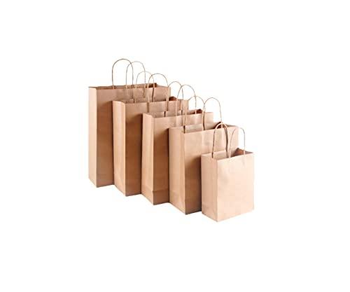 RESTAR 25PCS Bolsas de Papel con Asas, Bolsas Ppapel Kraft,Bolsas Papel Regalo para la Tienda de Comestibles para Hornear Compras Minoristas Boutique (Brown, 25PSC,41*12*34CM)