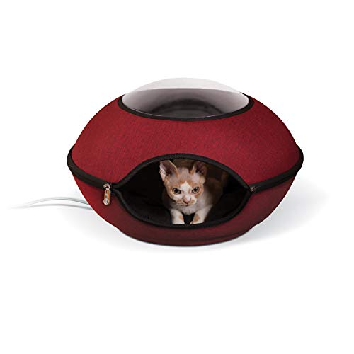K&H PET PRODUCTS Thermo Lookout Pod Heated Cat Bed Classy Red 22 Inches