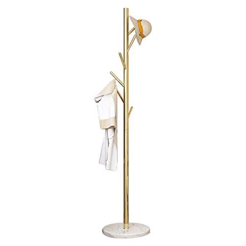 Goldener Schmiedeeisen-Garderobenständer, Basis aus natürlichem Marmor, Edelstahlhalterung, unabhängiger Flur-Garderobenständer, geeignet für Wohnzimmer, Schlafzimmer, Arbeitszimmer (180 × 38 cm / 7