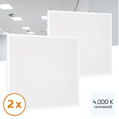 Proventa® LED-paneel 62 x 62 cm, 2 stuks, 36 W (A++), neutraal wit 4.000 K, 3.600 lumen, heraansluitbare voeding m. eurostekker, 2 jaar garantie