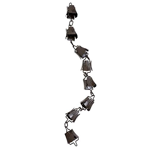 UPKOCH Regen Kette Kupfer Dekorative Glockenspiele Tassen Fallrohr Umleiten Wasser von zu Hause Weg für Atemberaubende Brunnen Display Blumenstil Sammeln Wasser