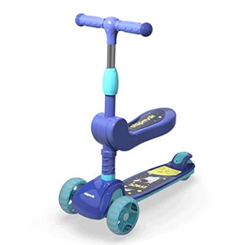 Scooters para Niños Dos modos scooter para niños de 3 a 14 años con ruedas de flash, scooter de niños 4 altura ajustable, scooters para niños pequeños LED extra anchos LED ruedas Antideslizante Scoote