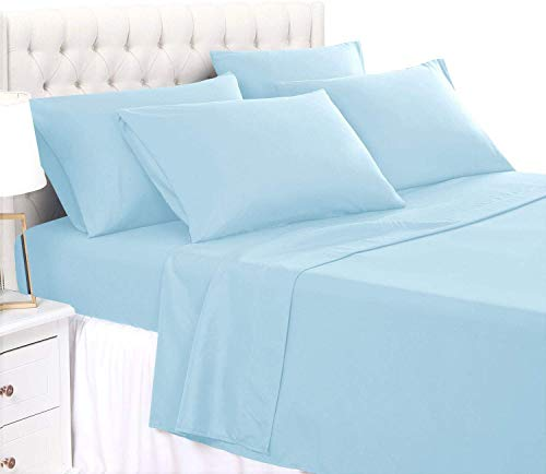 Grand King 6 PC Bed Sheet Set - 650 Thread Count Pure Egyptian Quality Cotton 6 Piece (Sheet Set & Extra Pillow Cases) Grand King Size Fit Up 15' Inch to 18' Inch Deep Pocket Light Blue Solid Color