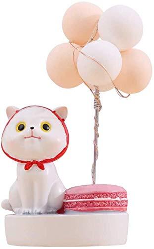 Elise Kat Beeldje Taart Topper Verlichte Ballon Kit Dier Desktop Ornament Hars Craft Adornment Creatieve Kerstmis Valentijnsdag Feestdecoratie benodigdheden