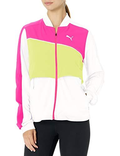 PUMA Women's Ultra Running Jacket, White-Luminous Pink-Fizzy Yellow, M