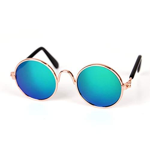YUIO Mascotas de Moda Gatos Gafas de Sol con Montura de Metal Gafas a Prueba de Viento Mascotas Gafas Protección UV Gatos Resistentes al Sol Gafas de Sol Accesorios (Verde Reflectante)