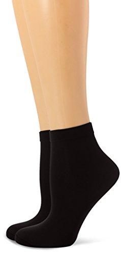 Dim Style tobilleros opacos Calcetines, 40 DEN, Negro (Negro 127), One Size (Tamaño del fabricante:35/41) (Pack de 2) para Mujer