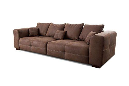 Cavadore Big Sofa Mavericco / XXL Sofa im modernen Design / Inklusive Rückenkissen und Zierkissen / 287 x 69 x 108 cm (BxHxT) / Mikrofaser Braun