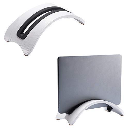 SAMDI Stand in Legno per Portatile, Verticale Desktop Supporto da Tavolo con 3 Slot Altro Computer Desktop Compatto per Laptop Apple MacBook Air PRO (Rovere Bianco)