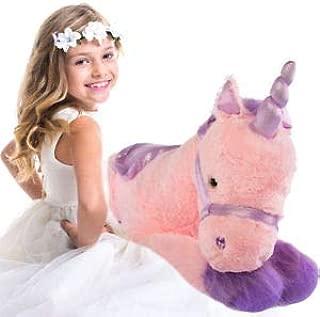 "Glitzy 39"" Jumbo Plush Pink Unicorn Giant Stuffed Animal Toy with Big Fluffy Purple Fur, Large Cute Toy for Kids"