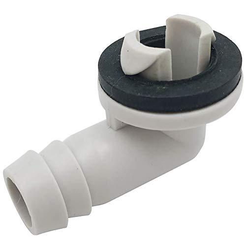Connettore per Tubo Flessibile di Scarico, Condizionatore d'Aria in Plastica Connettore per Tubo Flessibile di Scarico CA Raccordo A Gomito con Anello di Gomma Bianco Grigio