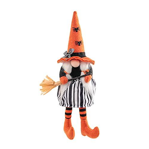 Peluche de bruja Gnome de Halloween con escoba para decoración de la bandeja de animales, hecha a mano, muñeca sin cara para Halloween, casa de campo, decoración de mesa, regalo (B) 🔥