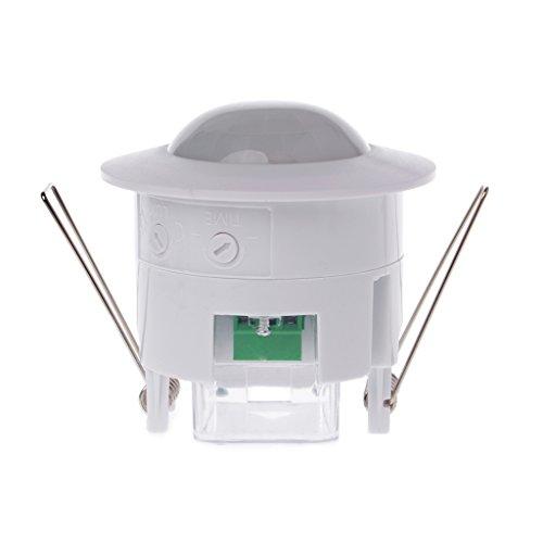 DROHOO 110-240V AC Ajustable 360 ° Techo Pir Cuerpo infrarrojo Sensor de Movimiento Detector Lámpara Interruptor de luz, Blanco + Verde