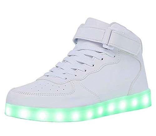 High Top LED Light Up Shoes USB Charging Sneakers For Men Women-40(white)