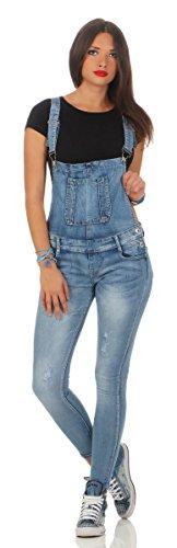 Fashion4Young 5067 Damen Jeans Latzhose Röhrenjeans Latzjeans Slimline Damenlatzhose (L=40, blau)