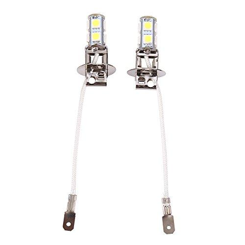 Elerose 6500K H3 Ampoule h3 LED 2Pcs H3 5050 Blanc 9 SMD LED Xenon DC 12V lampe de brouillard de voiture ampoules LED 6500K Antibrouillard Avant Ampoule de Phare Blanc de Xénon de Voiture Automatique