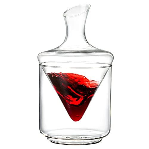 AIFCX Juego de decantadores de Vino, Jarra de Vino Tinto, aireador de Vino, Regalo de Vino, 100% de Cristal de Plomo sin soplado a Mano.