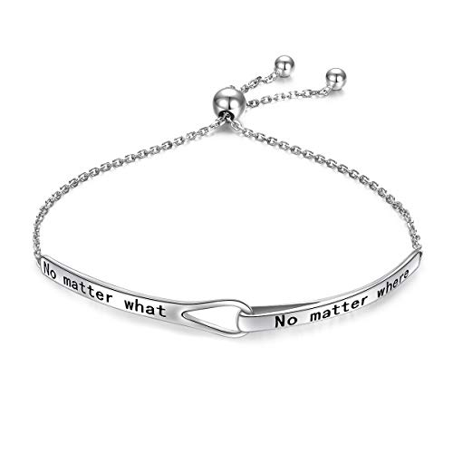 Sterling Silver Engraved Inspirational Adjustable Infinity Bracelet Graduation Gift for Mother Sister Best Friend Jewelry for Women