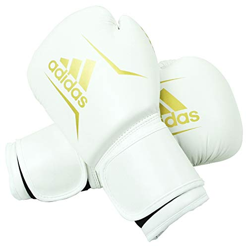 adidas FLX 3.0 Speed 100.2 Training Gloves, White/Gold, 12 oz