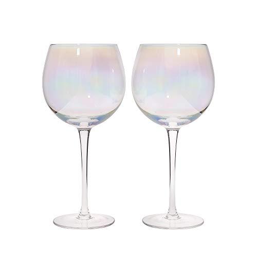 Kitchencraft Barcraft rainbow-pearl iridiscente Gin gafas, 500ml (Set de 2), multicolor, 9x 9x 22cm