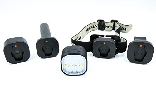 HEADSPIN Outdoors Convertible Lighting System - Headlamp, Flashlight, Bike Light, Rail Light, or Magnetic Light (All mounts Included in Kit) - Rechargeable and Weatherproof