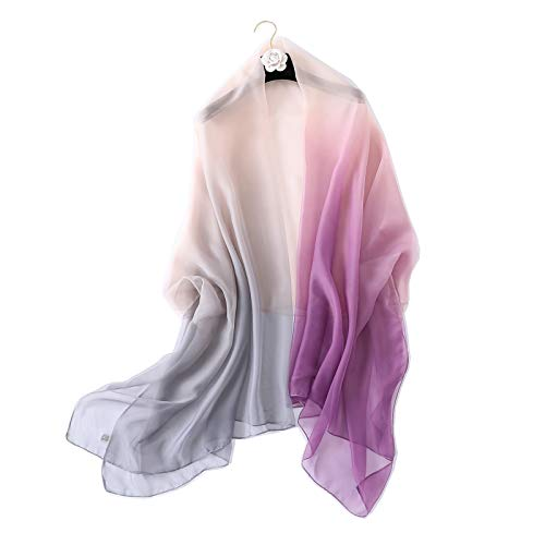 shepretty Sciarpa Seta per Donna Colore sfumato Scialle di eleganti ed Moda,180 * 130cm,Porporagrigio08